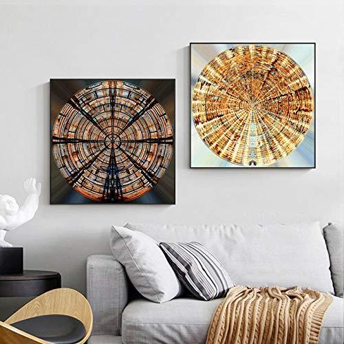 Anillo Anual de Oro Negro Abstracto Pintura en Lienzo Impresión Moderna y decoración de Carteles para Sala de Estar Dormitorio HD Imagen de Arte de Pared Sin marco-30x30cmX2
