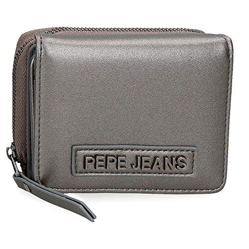 Pepe Jeans Cira Billetero con Monedero Gris 10x8x3 cms Piel sintética