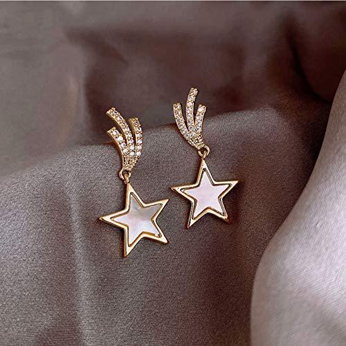 QMKJ S925 joyería de la Gota para el oído de líneas Pendientes de Plata del oído del Dangler de Cinco Puntas Pendientes Estrella de Plata de Ley Pendientes Gama Alta Rojo Neta Mujeres