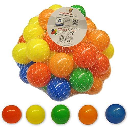bällebad24 - Set di 50 Palline Colorate in plastica, 5,5 cm, per Piscina, Senza plastificanti pericolosi, 5 Colori Assortiti (Certificazione TUEV = Test continui dal 2013)