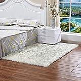 KFEKDT Kunstpelz Teppich Nacht Teppiche Rechteck Weiche Kunstschaffell Teppiche für Schlafzimmer Boden Shaggy Silky Plüsch Teppich A3 60x120cm