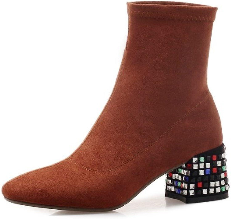 Nine Seven mocka läder Woherrar Woherrar Woherrar Square Toe Mid Heel Ankle Booslips.  het försäljning