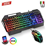 EMPIRE GAMING - Drak Fury Pack Tastiera e Mouse Gamer – Supporto smartphone - 19 Tasti anti-ghosting – 12 Scorciatoie multimediali - 7 Pulsanti 3200 DPI – 11 Modalità LED RGB – USB con filo