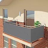 Balconio, panno parasoleidrorepellente per balcone, con chiusura a corda inclusa, Poliestere, Grey, 600 x 85 cm