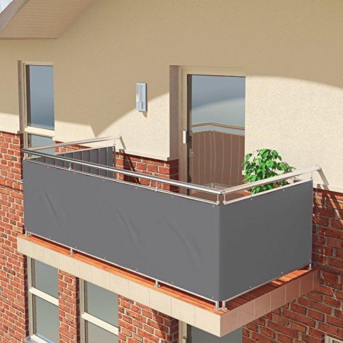 BALCONIO Balkon Sichtschutz wasserabweisend Balkonbespannung Balkonabdeckung für Balkon Terrasse aus Polyester-600 x 85 cm-Grau