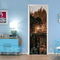 ZWYCEX ドアステッカー インテリアステッカー自己接着寝室のドアを印刷日の出風景の写真DIYの改修壁画防水の壁紙ホームデザイン (Sticker Size : 95x215cm)