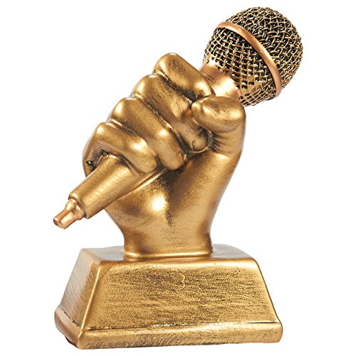 granddaughter trophies Juvale Golden Microphone Trophy - Small Resin Singing Award Trophy for Karaoke, Singing Competitions, Parties, 5.5 x 4.75 x 2.25 Inches