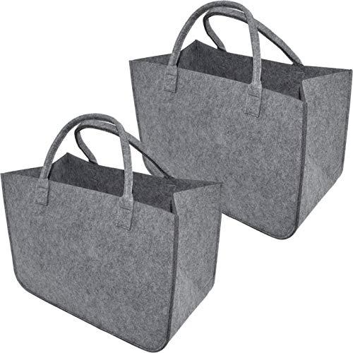 XL Filztaschenset Einkaufstasche · Henkeltasche aus Filz · Shopping Bag · Einkaufskorb mit Henkel · Shopper (2er Set Hellgrau)