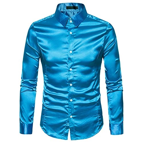 Ocuhiger Camisa De Vestir Clásica De Moda para Hombre Camisas Formales De Negocios Ajustadas Regulares Ajustadas con Cuello Vuelto Blusas De Manga Larga Blusa Azul Brillante