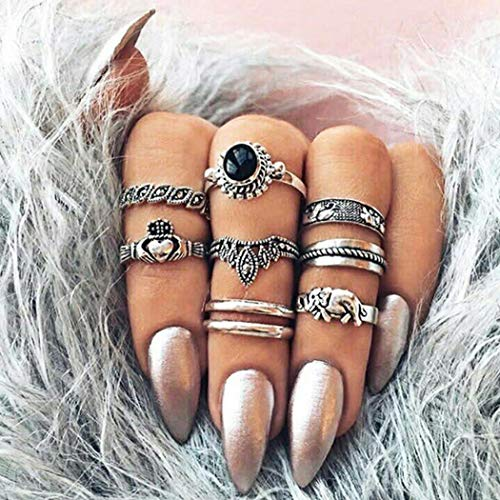 Aukmla Vintage Knuckle Rings Set Silver Stackable Finger Rings Jewelry Carved Ring Joint Knuckle Rings Hand Accessories for Women and Girls 8PCS