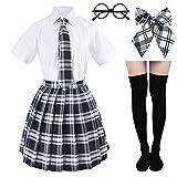 Japanese Tartan Pleated School Uniform Cosplay Costumes with Socks Eyeglass Frame Set (Black)(XS = Asia S)(SSF10)