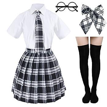 Japanese Tartan Pleated School Uniform Cosplay Costumes with Socks Eyeglass Frame Set  Black  M = Asia L  SSF10