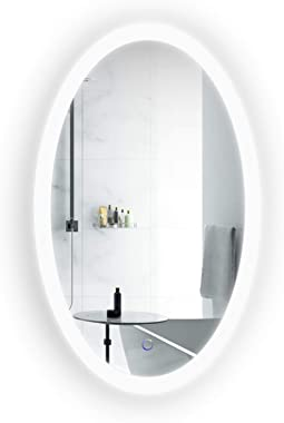 Krugg Oval LED Bathroom Mirror 22 Inch x 40 Inch | Lighted Vanity Mirror Includes Dimmer & Defogger | | Wall Mount Vertical or Horizontal Installation |
