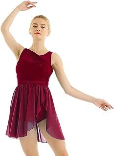 CHICTRY Donna Body da Danza Classica Vestito da Balletto Scollo V Abito da Danza Lirica Ballo Latino Salsa Body Ginnastica Dancewear Vestito Pattinaggio Artistico Performance