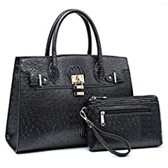 MATERIAL: High quality vegan leather material, environmental and no chemical smell. Waterproof and comfortable hand. SIZE: Handbag: 15 x 11.8 x 4.75 inch(W*H*D), handle height: 6 inch. Long shoulder strap length: 32 inch. It can fit small laptop, tab...