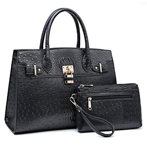 Dasein Women Handbags and Purses Ladies Shoulder Bag Top Handle Satchel Tote Work Bag with Wallet (1-Ostrich Black)