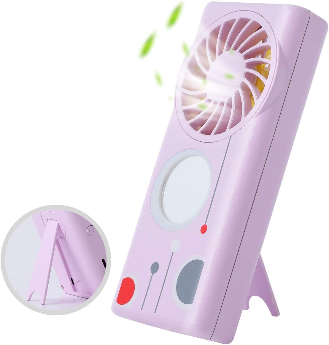 Mini Handheld Fan with Scent Airflow, Portable Desk Fan with Make-up Mirror Fill-in Light, USB Table Fan for Women for Office, Home, Outdoor,Traveling (Purple)