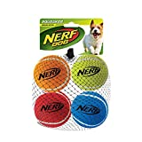 Nerf Dog Tennis Ball Dog Toys with Interactive Squeaker, Lightweight, Durable and Water Resistant, 2.5 Inches, for Small/Medium/Large Breeds, Four Pack, Mixed Colors