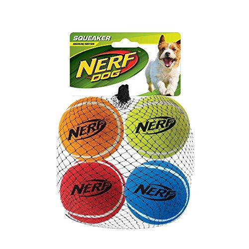 Nerf Dog Tennisball Hundespielzeug mit interaktivem Quietscher, leicht, langlebig und wasserabweisend, 6,3 cm, für kleine/mittel/große Rassen, 4er-Pack