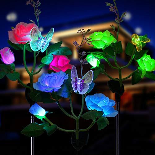 Solarleuchte Garten für Außen,OxyLED 3 Stück IP65 Waterproof Solar Garten Lampen mit LED Rose Lichter,Dekoration Lichter mit Auto EIN/AUS für den Garten Rasen Terrasse Feld Weg