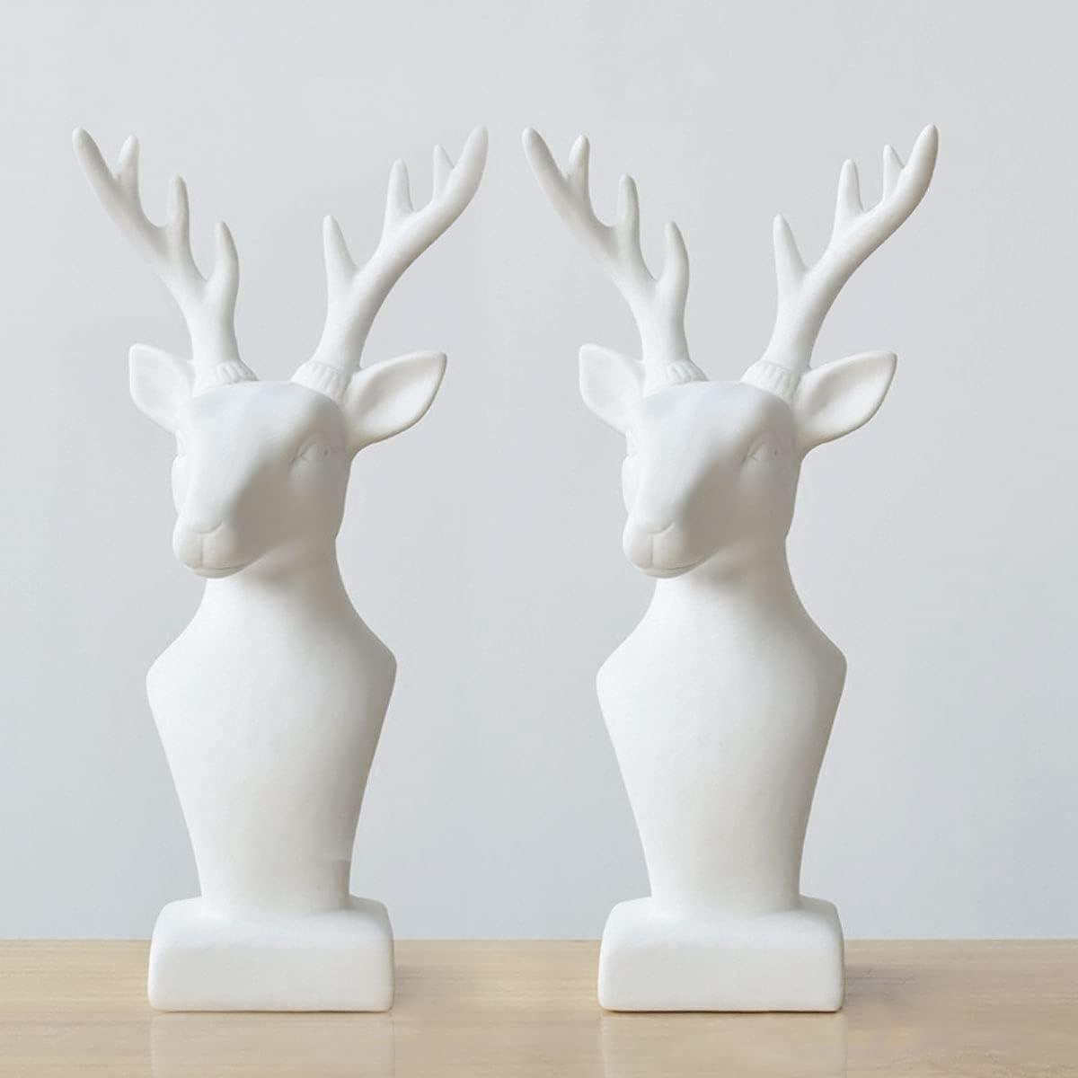 Ceramic Deer Statue, Deer Figurines, Deer Statue Figurines for Home Desk Shelf Decor(Deer/A Set of 2pcs)