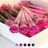 Fjiujin,1pc duftende Rose Seifenblütenblatt für Hochzeit Valentinstag(Color:Rose ROT)
