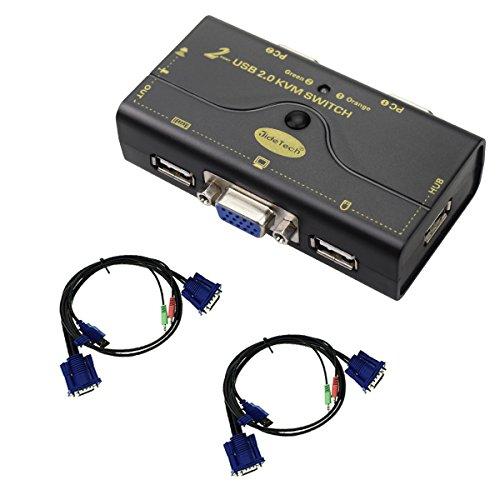 KVM Switch VGA 2 Porta fino a 2048x1536 Risoluzione con Hub USB per interruttore di commutazione PC o Montior per pulsante