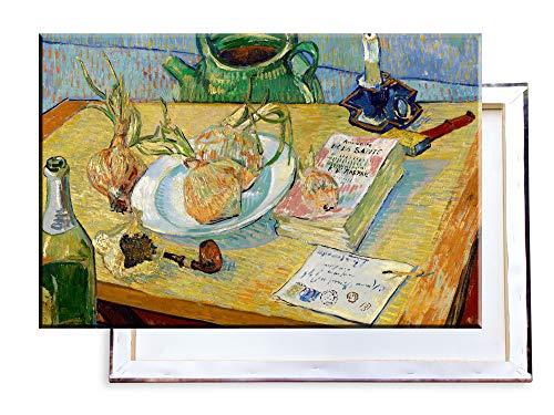 Unified Distribution Vincent Van Gogh - Stillleben mit einem Teller Zwiebeln - Klassisches Gemälde - Replik auf Leinwand 100x70 cm