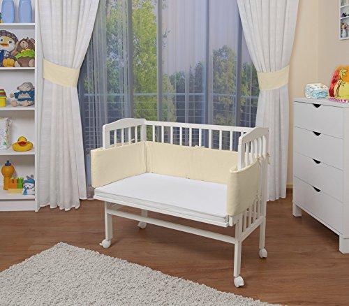 WALDIN Baby,Lettino culla,altezza regolabile,paracolpi e materasso,in 16 varianti,Superficie d'appoggio EXTRA lung. 90 x larg. 55 cm, bianco laccato,beige/gialle