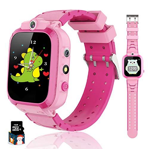 Reloj Inteligente para Niños con y Reproductor de MP3, Smartwatch Niños con Doble Cámara, 14 Juegos, Podómetro, Reloj Despertador, Linterna de Cumpleaños, para Niños y Niñas de 3 a 12 años (Rosa)