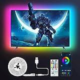 Retroilluminazione LED per TV, Tasmor Striscia LED RGB+IC USB 2 Metri con Telecomando e Controllo APP, 213 Modalità 16 Milioni Colori DIY per Televisore e Monitor da 32-55 Pollici