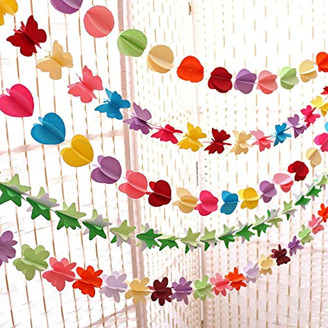 5 Pcs Multi-style Paper String Banner, Butterfly/Pentagram/Plum/Heart/Round Hanging Decorations for Wedding Holiday Party Birthday