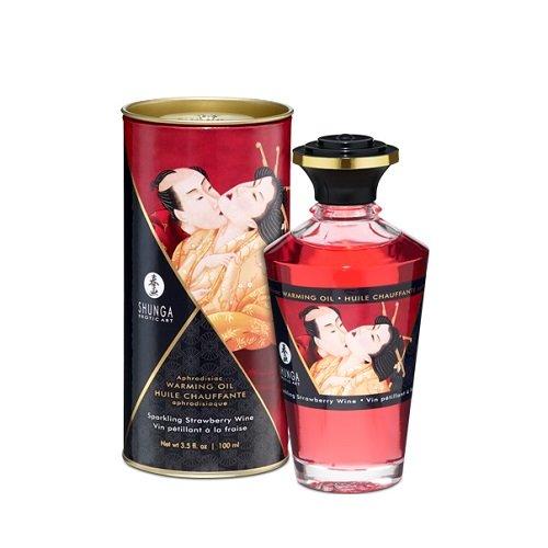 Shunga Aceite Afrodisíaco, Aroma de Fresas con Champagne, Color Rosa - 100 ml