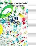 Quaderno Musicale Pentagramma: Quaderno pentagrammato,quaderno pentagrammato per musica,quaderno musicale pentagramma,quaderno pentagrammato bambini, ... musicale,quaderno di musica pentagrammato