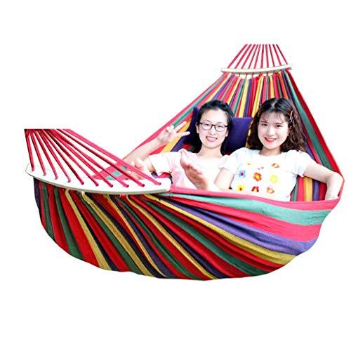 CHLDDHC Draagbare hangmat, outdoor schommelstoel voor in de tuin, sport, thuis, op reis, camping, schommel, linnen, strepen, hangmat met rugzak