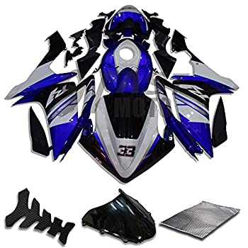9FastMoto Fairings for 2007 2008 YZF-1000 R1 07 08 YZF 1000 R1 Motorcycle Fairing Kit ABS Injection Set Sportbike Cowls Panels  Blue & Black  Y0159