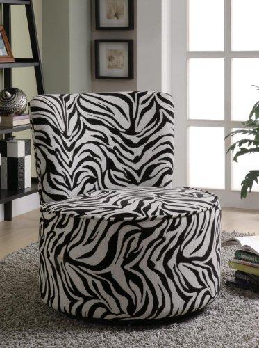 Coaster Round Swivel Accent Chair, Zebra Print