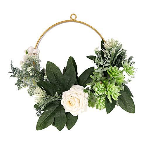 JVSISM Corona de Aro Floral Corona de Aro de Pared Colgante de Flor de Rosa Artificial y Hoja Verde para DecoracióN del Hogar de la Puerta Principal de la Pared de la Boda