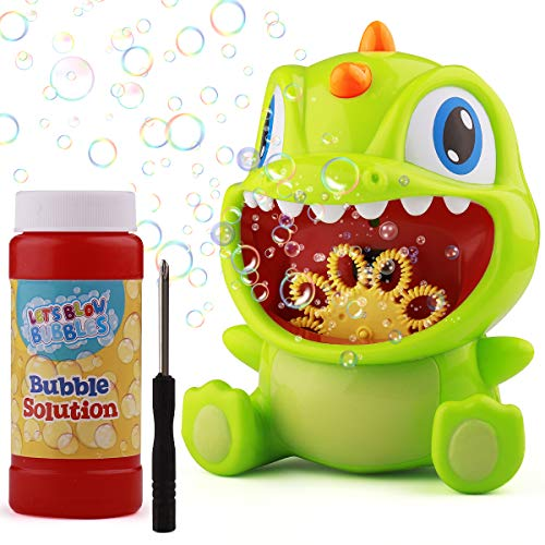 Dycsin Bubble Machine - Automatic Bubble Blower - Dinosaur Bubble Machine for Kids Toddler Outdoor - Bubble Maker 2000 Bubbles Per Minute Bubble Toys for Boys Girls Party Birthday Wedding Baby Bath