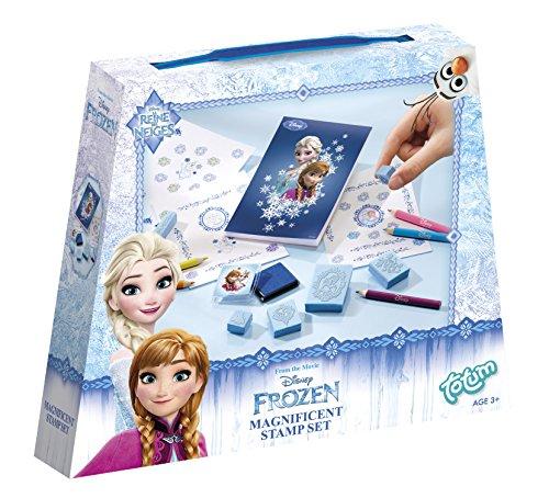 Disney Frozen Bastel-Set mit 6 Stempeln, 5 Buntstiften, 1 Stempelkissen und 1 Zeichenblock - im süßen Eiskönigin Look