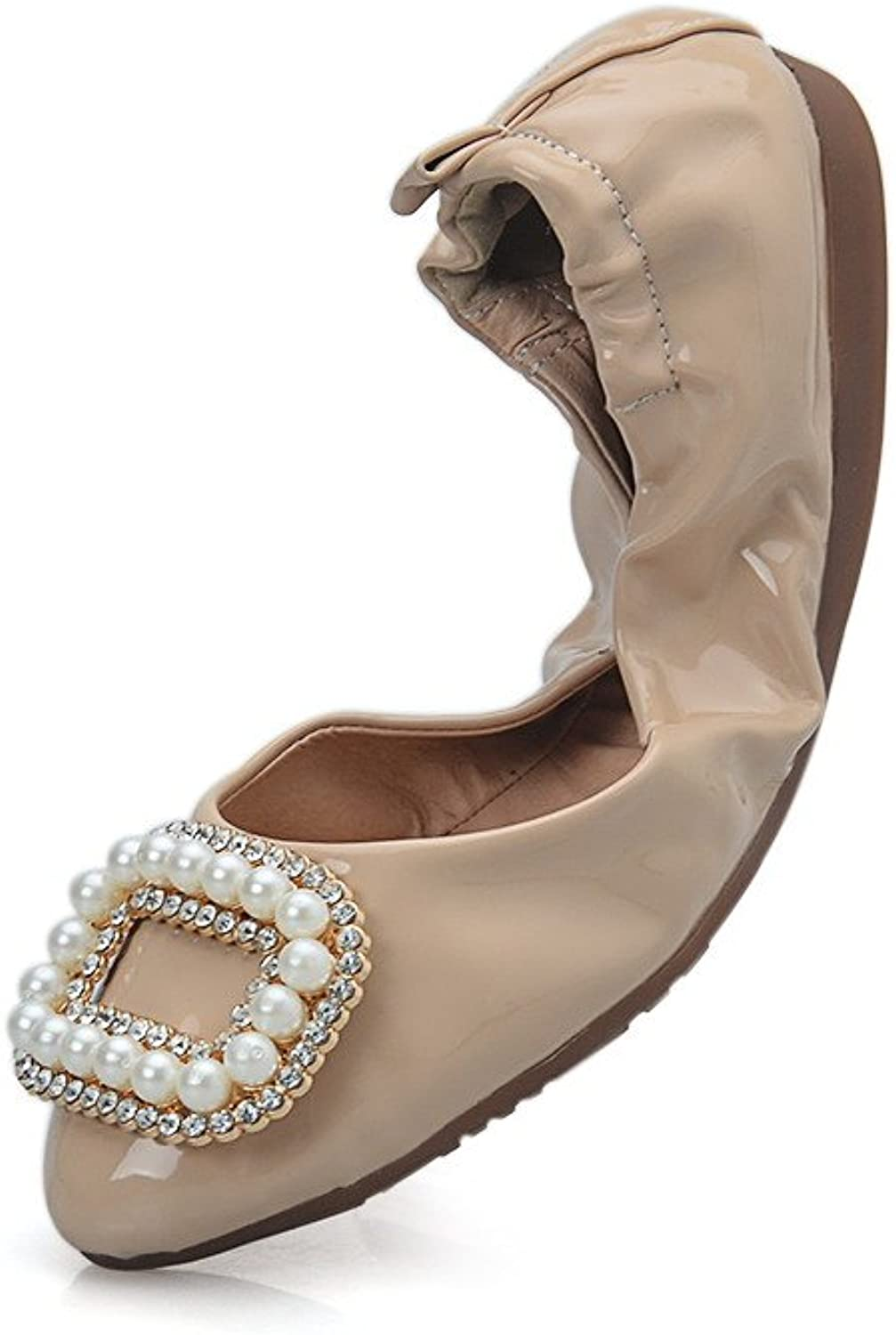 AllhqFashion Women's No Heel Solid Pull On Round Closed Toe Flats-shoes