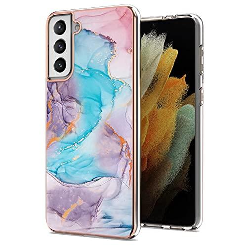 Funda para Samsung Galaxy S21 Plus con Protector de Pantalla & Anillo Soporte Móvil, Carcasa TPU Suave Silicona Ultra Delgado Case Cover Protectora - Mármol Azul/Púrpura