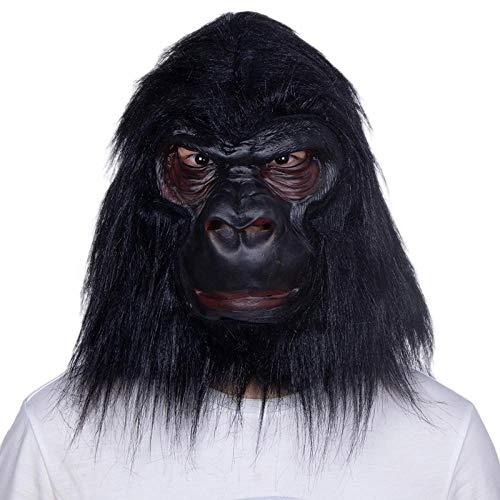 XWYZY Mascarilla de Halloween con cabeza completa de animal negro pelo mono mscara Halloween ltex adulto tamao x13002