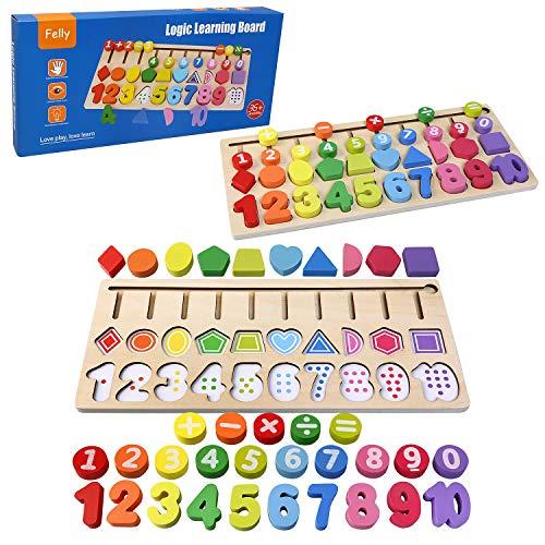 Felly Juguetes Educativos 1 2 3 años Niños, Juegos de Madera Montessori Tablero de Conteo de Números de Apilamiento de Clasificación Matemática Aprendizaje de Juguetes, Regalo de cumpleaños, Navidad