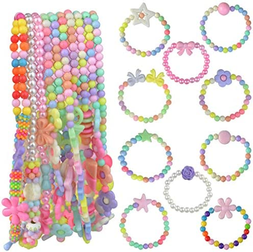 obmwang 20Pcs Princess Necklace Bracelet Set Little Girls Costume Jewelry Play Jewelry for Women product image