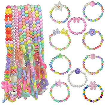 obmwang 20Pcs Princess Necklace Bracelet Set Little Girls Costume Jewelry Play Jewelry for Women Kids Dress Up Pretend Play Party Favors