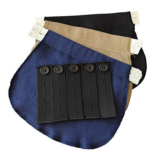 8 Extensores Elásticos Ajustables para Extender la Cintura de los Pantalones,Adecuados para Pantalones de traje de jeans para hombres y mujeres Pantalones para Mujeres Embarazadas (Negro, Azul, Caqui)
