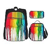 Colorido arco iris Crayon pintura arte escuela mochila 3 piezas Set para niños y niñas (bolsa escolar + estuche + bolsa de almuerzo combinación)