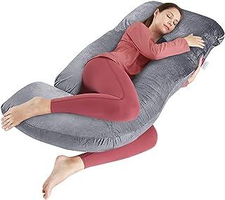 بالش حاملگی رویای وندی بالش تمام بدن به شکل J با روکش مخمل ، بالش بارداری 60 اینچ برای زنان باردار پشت ، ساق و شکم (خاکستری)