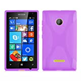 Cadorabo Hülle für Nokia Lumia 435 Hülle in Handyhülle aus flexiblem TPU Silikon im X-Line Design Silikonhülle Schutzhülle Soft Back Cover Hülle Bumper Flieder Violett